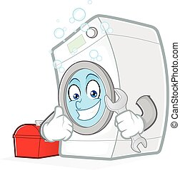Washing machine holding a wrench - Clipart picture of a...