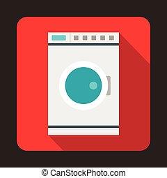 Washing machine icon, flat style