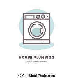 Washing machine icon house plumbing equipment logo vector...