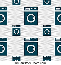 washing machine icon sign. Seamless pattern with geometric texture. Vector illustration