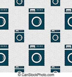 washing machine icon sign. Seamless pattern with geometric ...