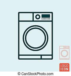 Washing machine icon. Wash laundry line design.