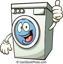 Washing machine - Cartoon washing machine. Vector clip art...