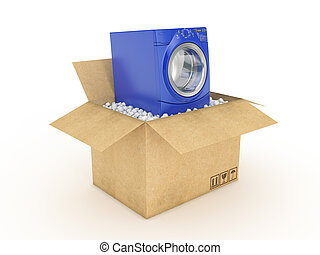 washing machine in cardboard box