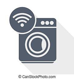 Washing machine, internet, wifi flat design vector icon