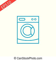 Washing machine line vector icon on blue background.