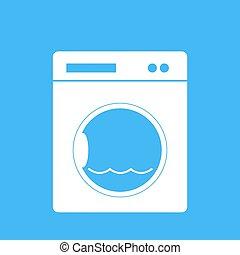 Washing machine on a blue backgroun