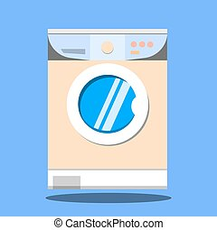 Washing machine on blue background. Flat design, vector illustration