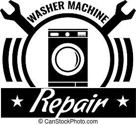 Washing machine repair icon or logo concept. Washing machine silhouette and repair symbol. Vector illustration.