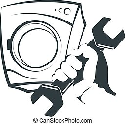 Washing machine repair silhouette - Wrench in hand for...