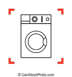 Washing machine sign. Black icon in focus corners on white backg