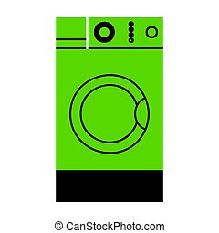 Washing machine sign. Vector. Green 3d icon with black side on w
