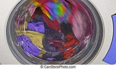 Washing machine spinning wears underwear clothing clothes