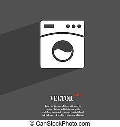 Washing machine symbol Flat modern web design with long shadow and space for your text. Vector