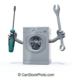 washing machine with arms and tools on hands, 3d ...