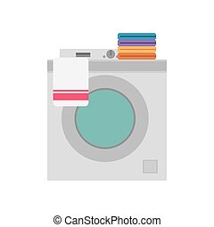 Washing machine with folded clothes