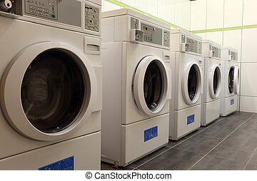 Washing machines in a coin laundry