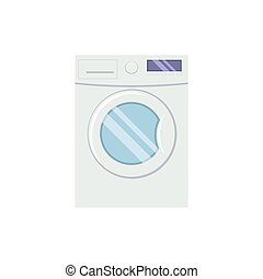 Washing mashine in flat style vector illustration isolated on w