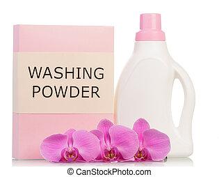 Washing powder and bottle - Pink washing powder and bottle...