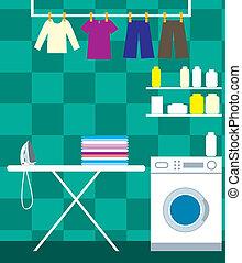 Washing room - Vector illustration, color full