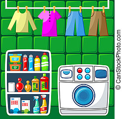 Washing room. Vector illustration