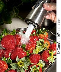 Washing Strawberrys.