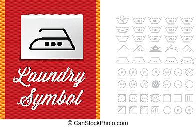 Washing symbols on clothing label