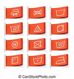 Washing symbols on clothing labels illustration