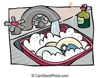 Washing the dishes - A cartoon image of dishes in a bowl of...