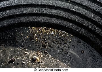 washing the gold in a pan