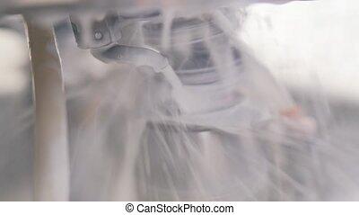 washing the machine close up