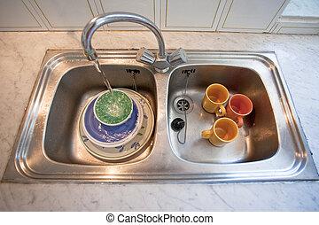 washing-up bowl in kitchen