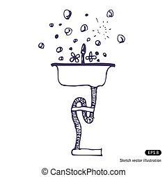 Washing up. Hand drawn vector isolated on white