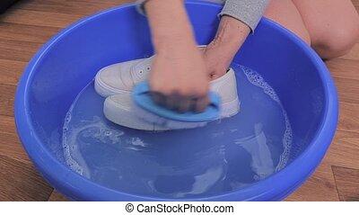 Washing white sneakers
