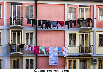 Washings Drying in Italy. Traditional Houses