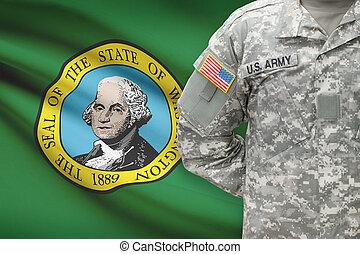 washington, -, állam, bennünket, katona, lobogó, háttér, amerikai