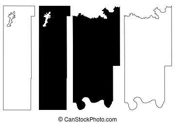 Washington and Seminole County, Oklahoma State (U.S. county, United States of America, USA, U.S., US) map vector illustration, scribble sketch map