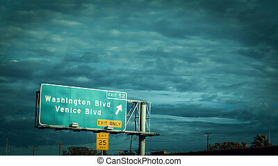 Washington and Venice boulevard sign on a freeway in Los Angeles