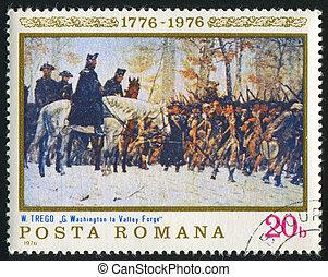 Washington at Valley Forge - ROMANIA - CIRCA 1976: stamp...