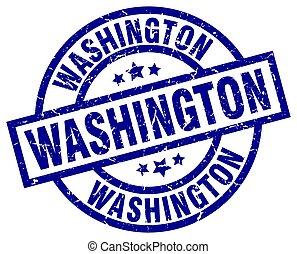 Washington blue round grunge stamp