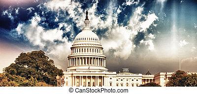 Washington Capitol with Sky and Vegetation