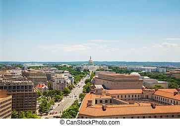 washington, cc, ciudad, vista aérea