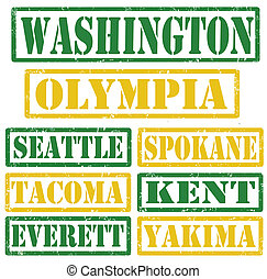Washington Cities stamps - Set of Washington cities stamps ...