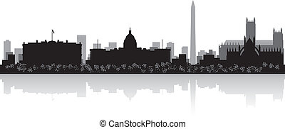 Washington city skyline silhouette - Washington USA city...