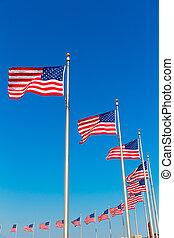 washington, columbia, bandiere, distretto, monumento