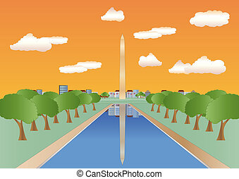 washington, coucher soleil, monument