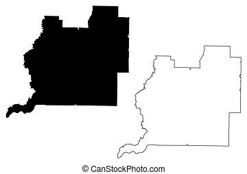 Washington County, Florida (U.S. county, United States of America, USA, U.S., US) map vector illustration, scribble sketch Washington map