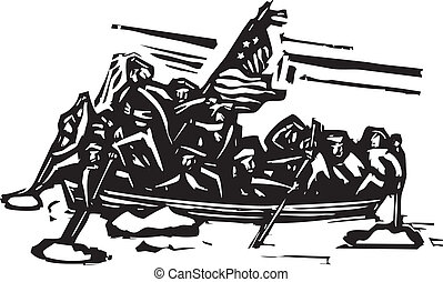 Washington Crossing the Delaware - Woodcut style...
