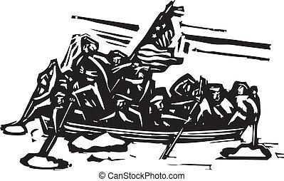 Washington Crossing the Delaware - Woodcut style ...
