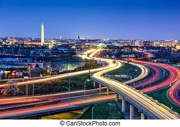 washington d. c., contorno, con, carreteras, y, monuments.